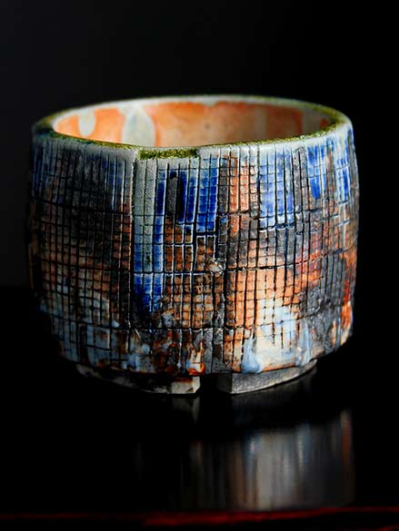 Shino-Cup-Ardmore by Adam Whatley - Shino and glass combined with cobalt and iron oxide