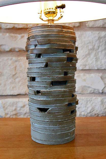 Soda-fired-lamp assembled with clay strips by Adam Whatley