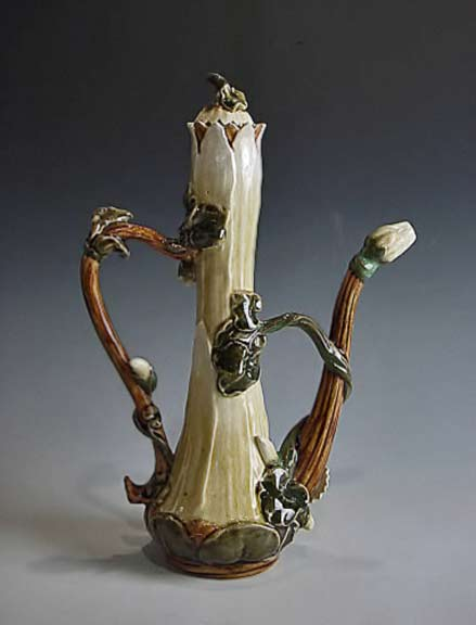 Zsolnay-Art-Nouveau-teapotTurkish coffee server with lid c. 1880Hand-painted majolica undulating leaves and buds...