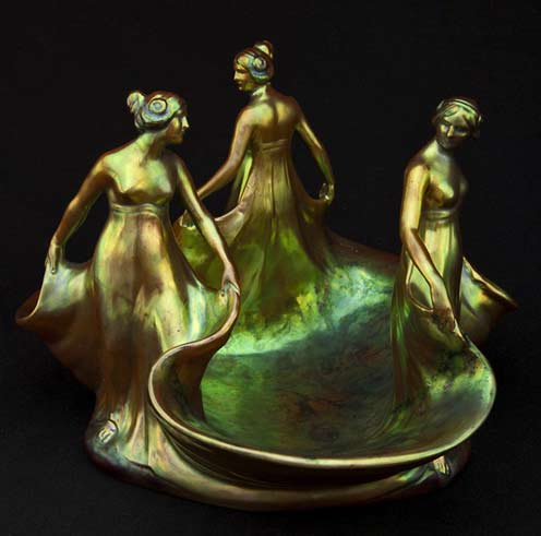Zsolnay-Three-Graces-figural lustre glaze bowl--Pinter-Auctions