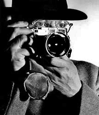 Henri Cartier-Bresson with camera