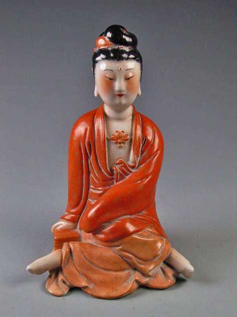 red robed ceramic-Buddha-figurine-sculpture