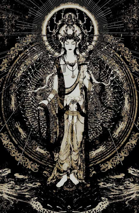 black and white Kuan Yin painting