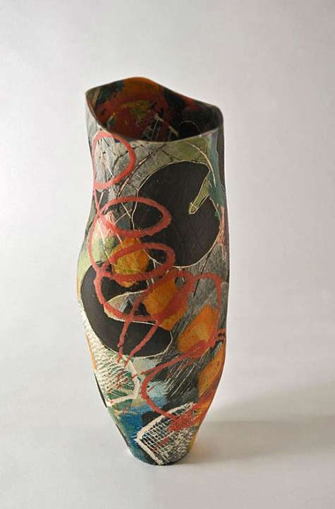 carolyn-genders abstract polychrome decorated vase