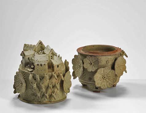 Ian-Godfrey-Cornucopia-Lidded-Vessel,-1970s-International-Ceramics---Erskine-Hall---Coe