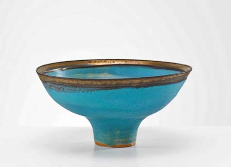 Lucie Rie contemporary Turquoise Bowl with Bronze Rim, c. 1983