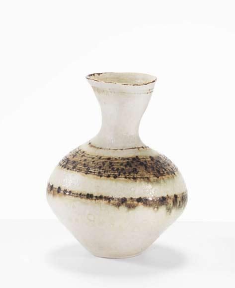 Lucie-Rie-Vase,-c.-1959--International-Ceramics---Erskine-Hall-Coe---Stoneware,-Height-13