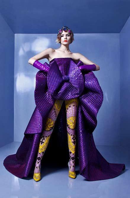 nicolas-jebran-couture 2012-2013 model wearing a deep purple gown