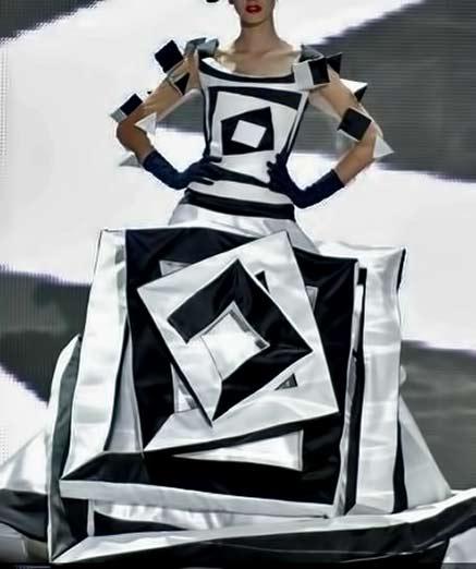 valentin-yudashkin - black and white geometric gown
