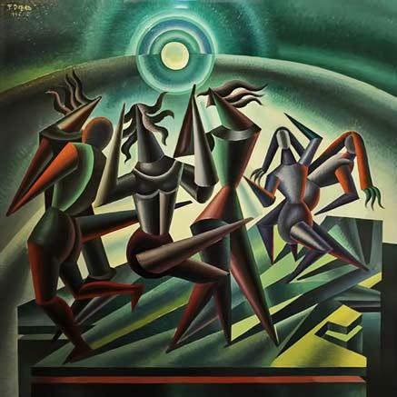 fortunato-depero-futurism-paintings Moon Dance