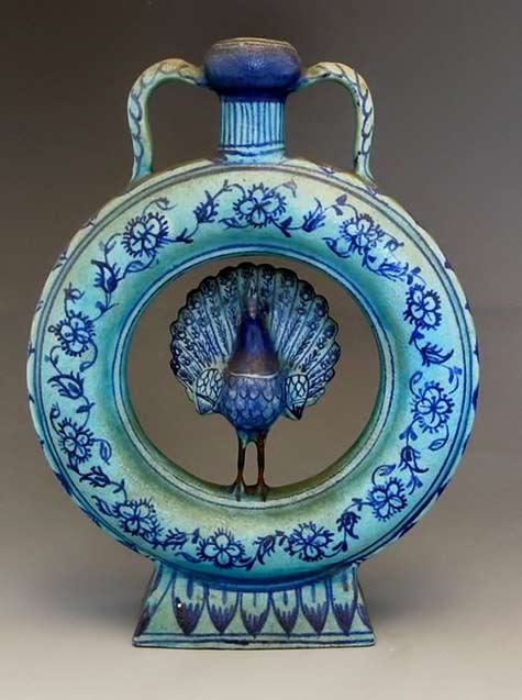 19c-persian-qajar-art-pottery-vase-with-peacock-round-form-blue-glaze