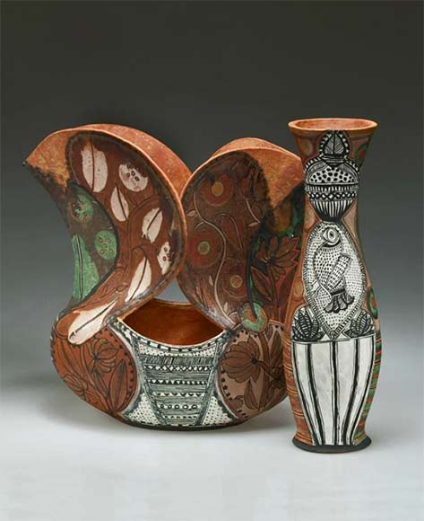 Alfred-university-school-of-art-and-design-image-gallery-andrea-gill - bird motif vase