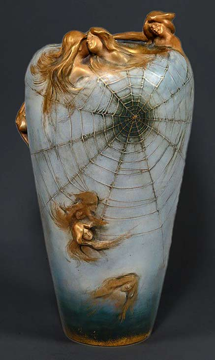 amphora-art-nouveau-vase with gold nymphs in relief and a large spider web