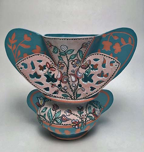 andrea-gill-iznik-vase in turquoise and pink and floral decoration