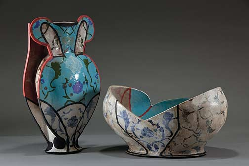 andrea-gill-vase-and-bowl-2013 with turquoise highlights