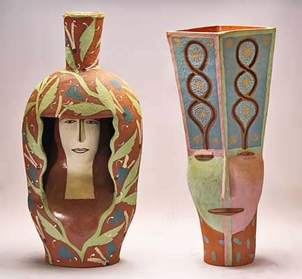 andrea-gill-ceramic-sculpture vases with female face motifs
