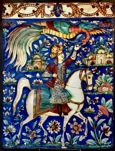 blue-horseman-danielle-adjoubel - iznik style ceramic tile with man riding a white horse and a phoenix