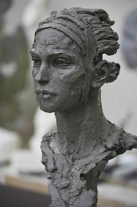 christophe-charbonnel sculptured bust in clay