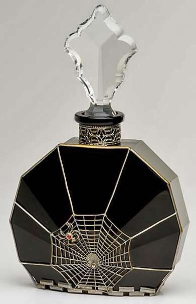 Black glass art deco-spider-and-web-perfume-bottle with crystal stopper