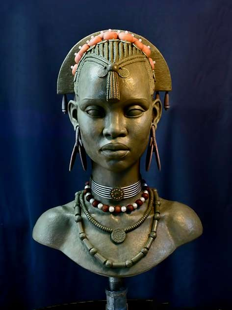 E.V. Female bust 1 by Mark Newman female African bust
