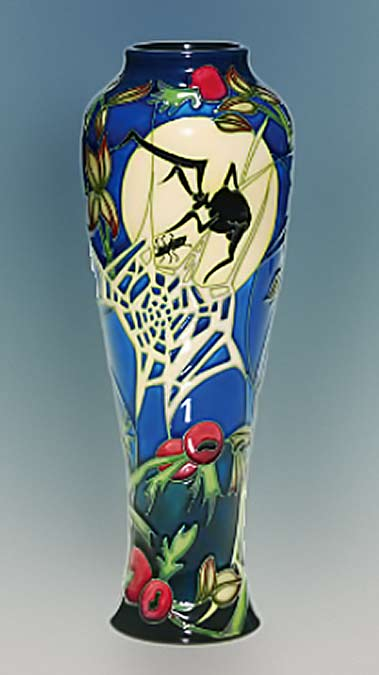 humler-nolan-december-2012-moorcroft-vase-depicting-a-large-black-spider-in-its-web-approaching-a-smaller-insect-silhouetted-by-a-large-full-moon