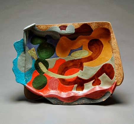 John Gill ceramic platter with abstract motif in muerous colours