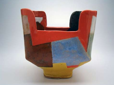 John Gill geometric poly-chrome bowl