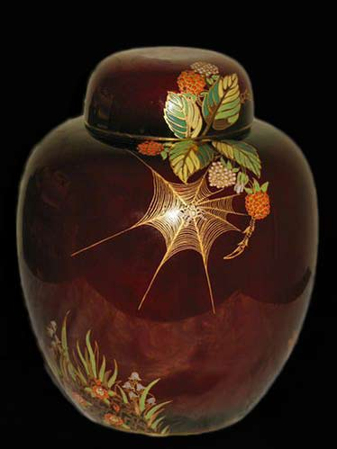 rouge-royale-carlton-ware-ginger-jar-spiders-web-pattern-with-lid