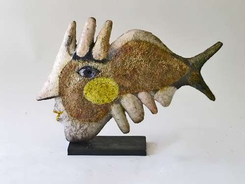 roger-capron-zoomorphic-fish sculpture