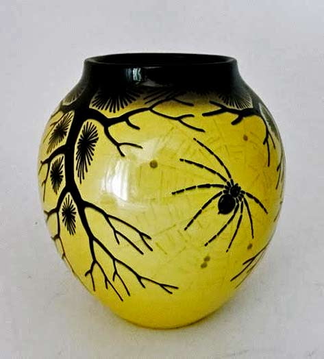 ziegler-schaffhausen-1920s German yellow bulbous vase with black spider motif