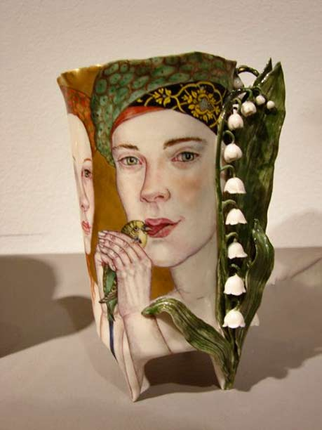 art-of-irina-zaytceva face motif vase