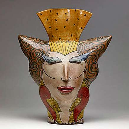 vessel-andrea-gill - vase with a raised relief face