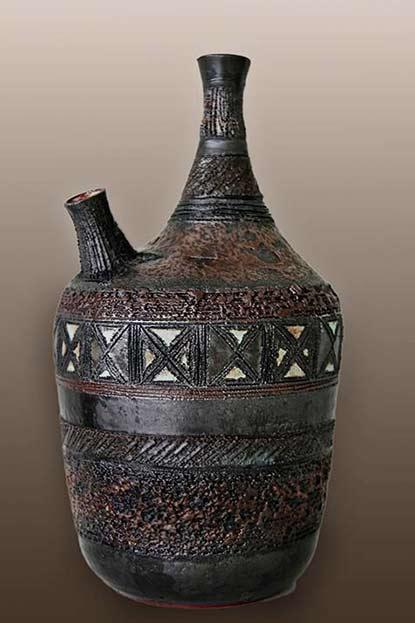 amphora-dubbele-hals-vaas-brons-glazuur
