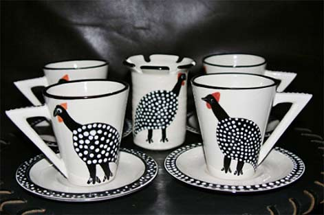 ceramic-tea-coffee-set-guinea-fowl-design-spoon-caddy-9-pc-handcrafted-cultures-international-from-africa