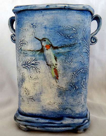 christine-williams-porcelain - vase with bird in flight