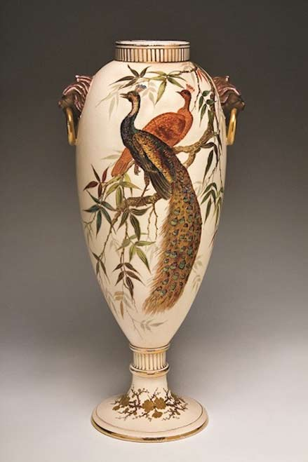 edward-lycett-vase-1886-90 footed vase with peacock motif and lion head handles