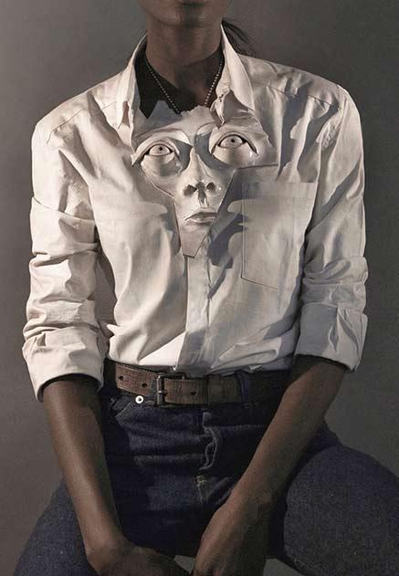 hrvi - harvey-bouterse slik shirt and ceramic mask pendant