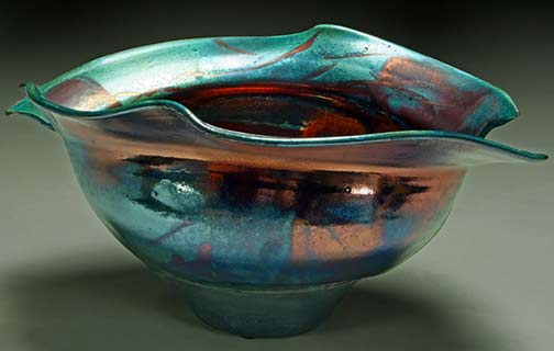 raku-ceramics-by-steven-forbes-desoule Wavy bowl with torn rim
