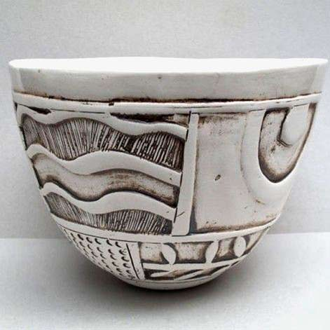 shelley-maisel carved ceramic cup