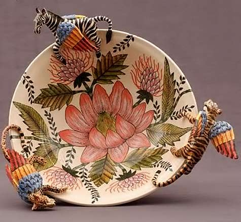 south-of-the-sahara-ardmore-ceramic dish with pink flower motif and zabra, tiger and leopard relief figures