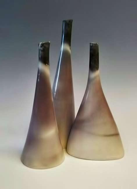 three-tall-saggarfired-vessels-by-christine-gittins-ceramic-sculpture