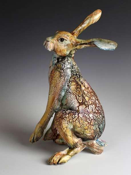 raku hare sculpture- Annie Peaker