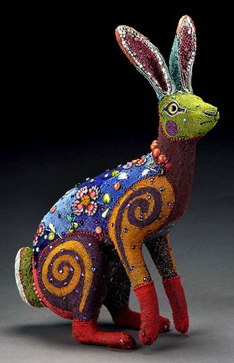 Beadwork-and-Mixed-Media jackrabbit -by-Betsy Youngquist
