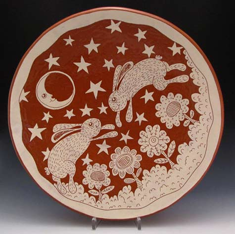 Ceramic Platter Rabbits Moon and Stars Large by RonPhilbeckPottery,