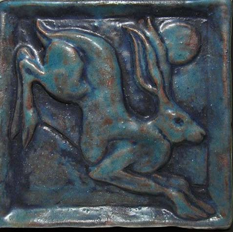 leaping hare ceramic tile etsy