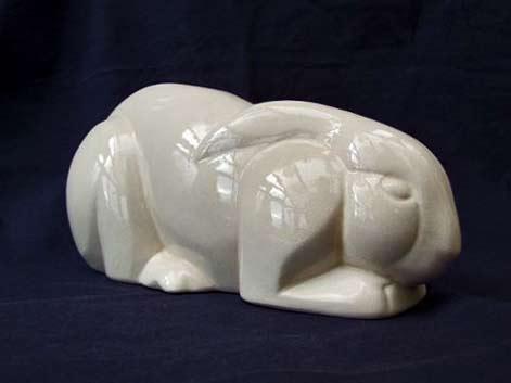 Stylised crackle white-glaze rabbit, signed Lepoy