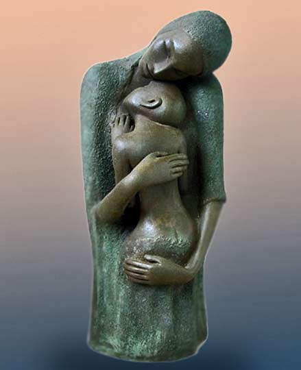 Mother Child - Cris Pereby being inspired by the Egyptian sculpture and Camille Claudel.