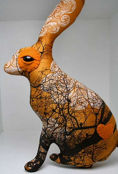 Flock the Jack Rabbit Look what I can do - Flickr orange rabbit sculpture with abstract decoration
