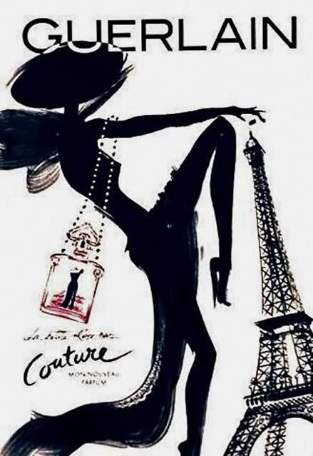 black female silhouette guerlain poster
