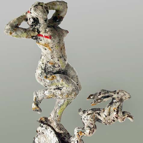 Michael Flynn - Hare Woman - sculpture of a dancing lady with a dancing hare